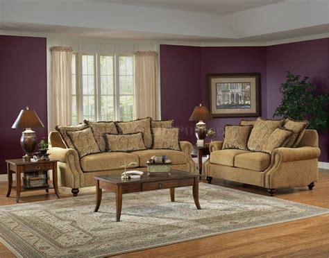 beige fabric classic living room sofa loveseat set