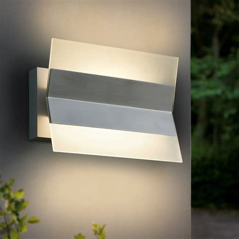 led outdoor wall light stainless steel satin glass