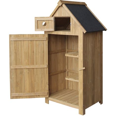 slim utility shed   fir wood   tar roof