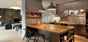 Superieur table haute ilot central 1 la cuisine ouverte for Idee deco cuisine avec meuble salle a manger contemporain