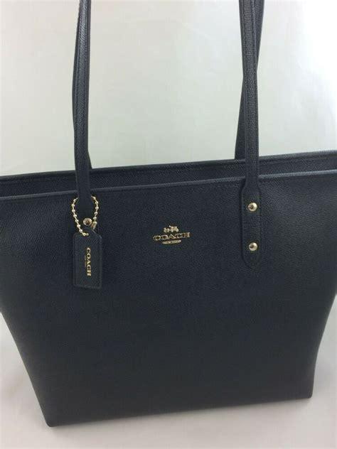 coach  crossgain leather city zip tote handbag purse bag black ebay