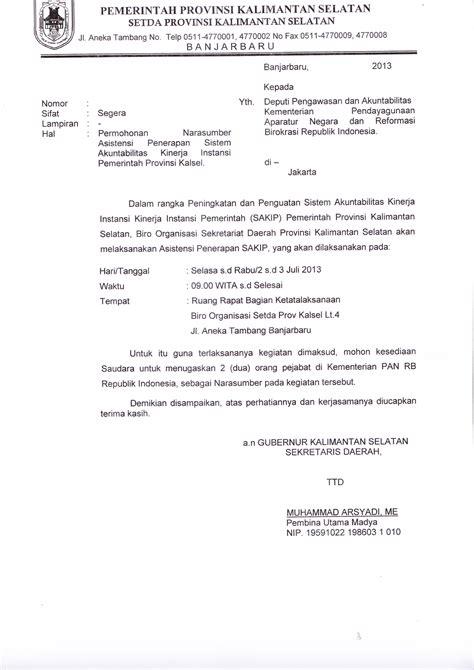 Contoh Surat Resmi Tentang Permintaan by Contoh Surat Biasa Tatalaksana Kalsel