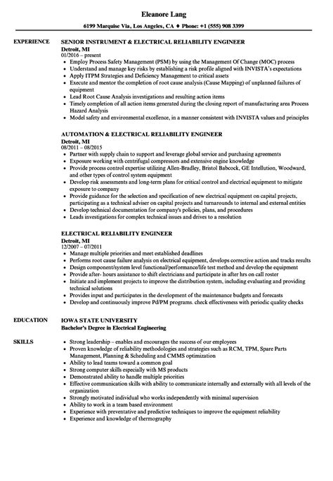 It Pm Resume by Electrical Reliability Engineer Resume Sles Velvet