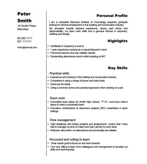 Carpenter Resume Objective Exles by Carpenter Resume Template 9 Free Sles Exles Format Free Premium Templates