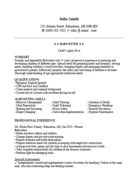 Resume Formula by Babysitting Resume Sle Format For Your Success