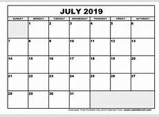 July 2019 Calendar & August 2019 Calendar