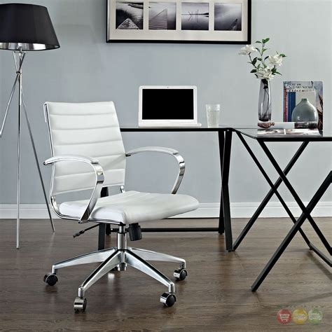 jive modern mid back ribbed vinyl office chair with chrome