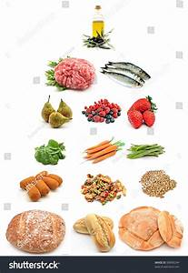 Healthy Food Pyramid Surrounded By White Stock Photo