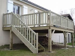 terrasse bois en hauteur With terrasse en bois en hauteur