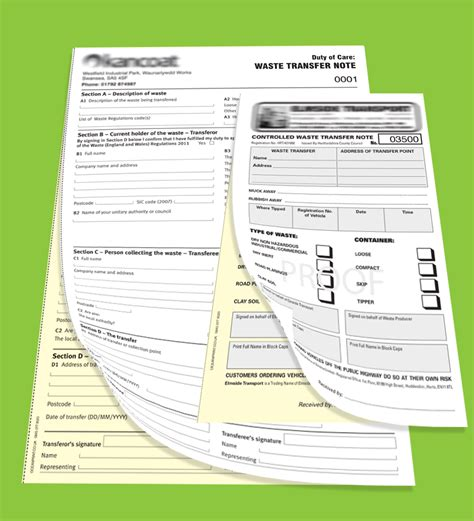 waste transfer note books printing personalised
