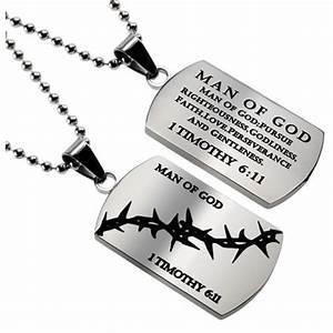 Christian Dog Tag 1 TIMOTHY 6:11 MAN OF GOD, Stainless ...