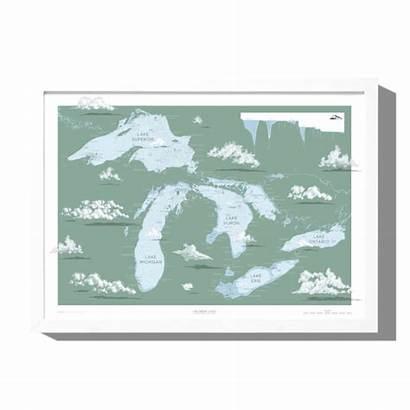 Lakes Map Nautical Prints Greeting Cards Lake