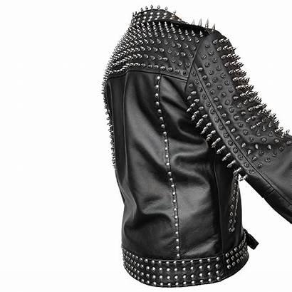Jacket Leather Punk Mens Spike Studded Cropped
