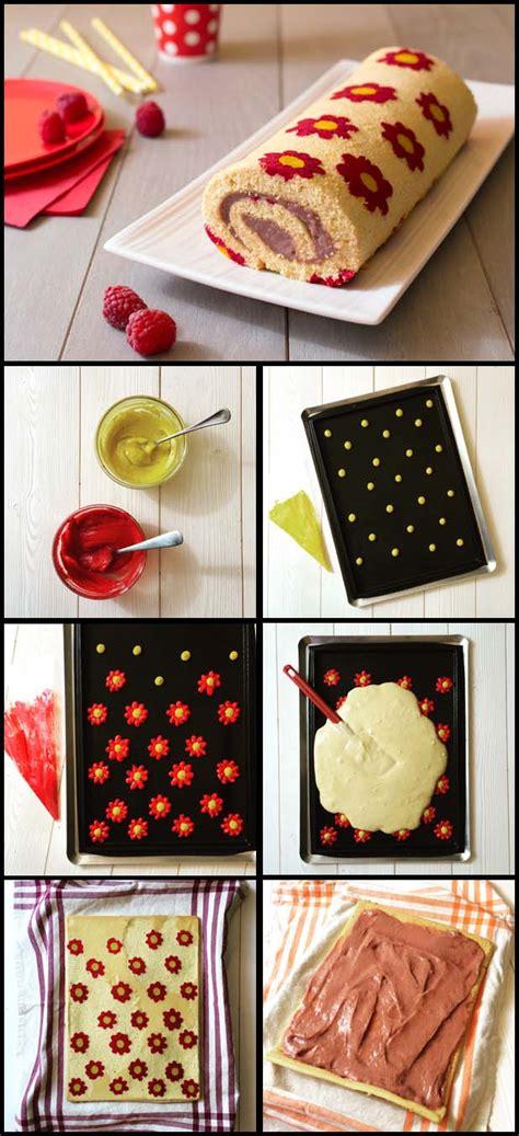 recette pate a cigarette g 226 teau roul 233 imprim 233 fleurs aux framboises les meilleures recettes de cuisine d 212 d 233 lices