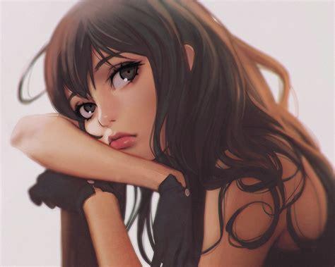 Wallpaper Face Model Long Hair Anime Girls Brunette