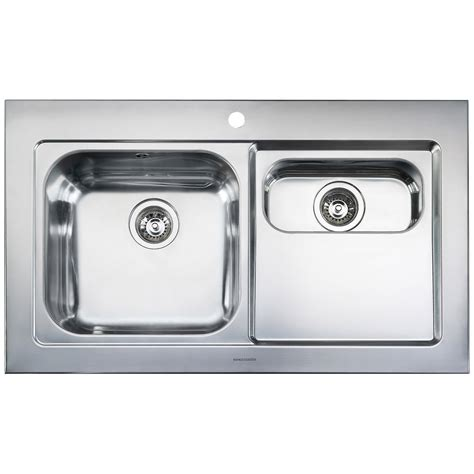1 5 bowl kitchen sink rangemaster mezzo 1 5 bowl stainless steel kitchen sink 3792