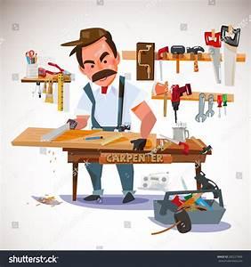 Carpenter Sawing Wood Board Workshop Set Stock Vector