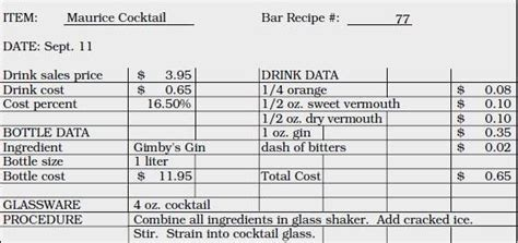 recipe cost card template beautiful beverage production