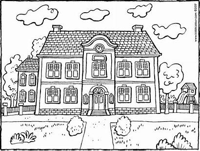 Colouring Buildings Kiddicolour Schoolgebouw Ausmalbilder Coloring Building