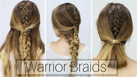 3 Easy Warrior Braids (dirty Hair Styles!!)