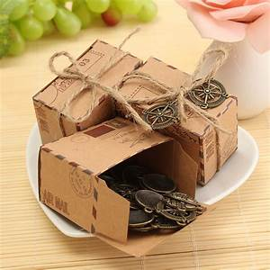 50pcs kraft paper box airplane mail candy box rustic With chocolate box wedding favors