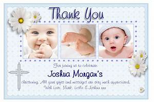 personalised christening thank you cards personalised With baptism thank you card template