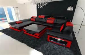 leder sofa big leather sofa enzo with led lights black ebay
