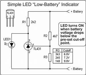 Simple Circuit Using Led To Alert Low Voltage