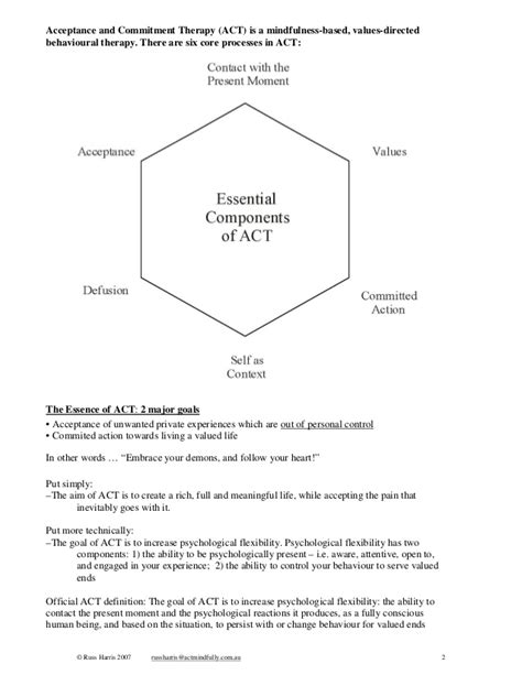 Acceptance And Commitment Therapy (act) Introductory Workshop Handout…  Counseling Resources