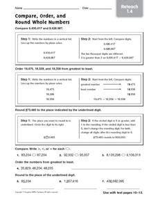 compare order    numbers reteach worksheet