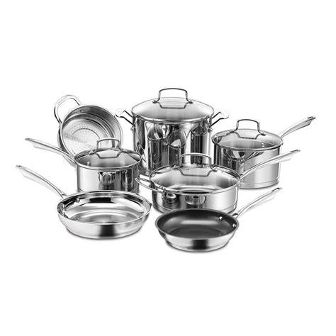 cuisinart professional series  piece stainless steel cookware set  lids    home depot