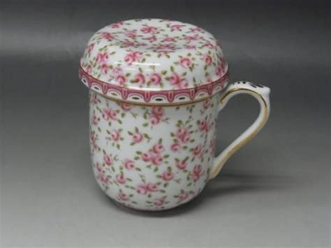 royal arden lid mug rose pattern   tea strainer