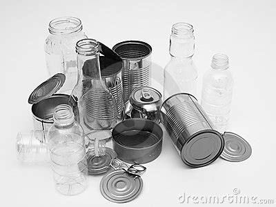 metal glass  plastic containers  recycling stock