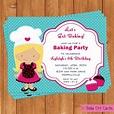 Baking Party Invitation Kids Birthday Printable Editable ...