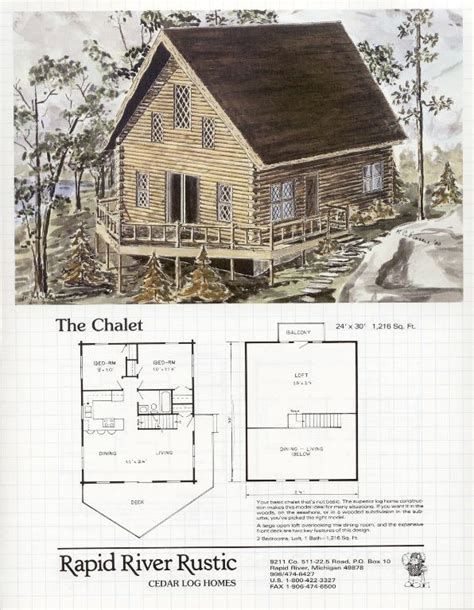 rapid river rustic cedar log homes chalet floor plans - Chalet Home Plans