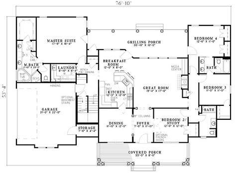 2500 Sq Ft One Level 4 Bedroom House Plans