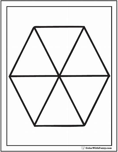 Coloring Hexagon Pages Shape Six Piece Printable