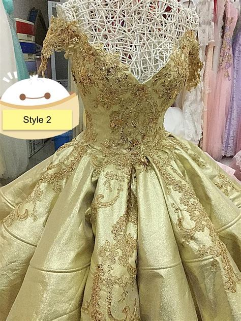 shiny gold   shoulder poofy satin ball gown wedding