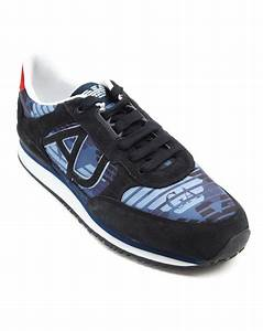 Armani Jeans Blue Camo Canvas Sneakers in Blue for Men | Lyst