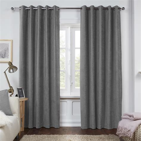 dante charcoal grey luxury soft chenille lined eyelet