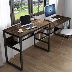 Tribesigns, Two, Person, Computer, Desk, Rustic, Extra, Long, Two, Person, Sit, And, Standing, Desk, Double