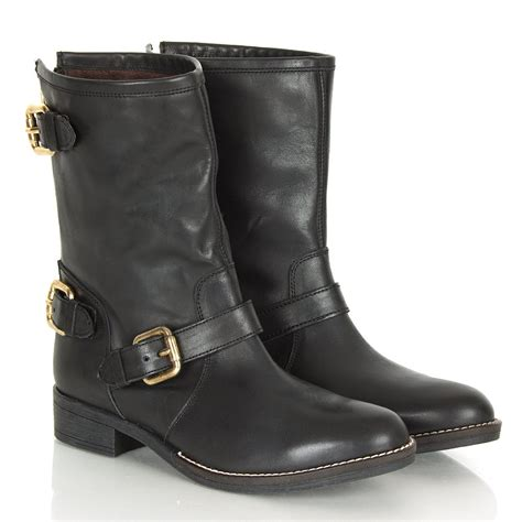 biker boots for daniel esmeranda s black leather biker calf boots