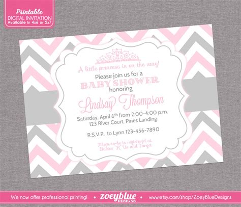 baby shower invitations pink and grey princess baby shower invitation pink grey by zoeybluedesigns