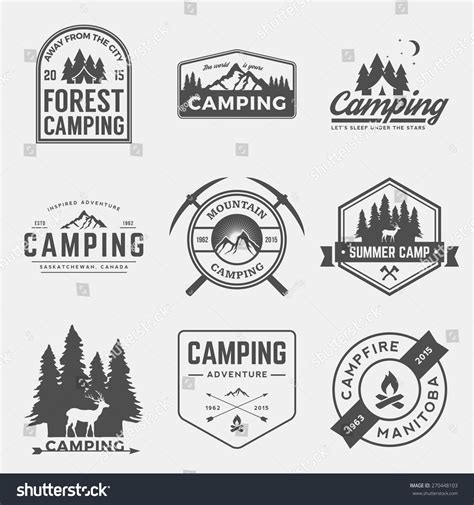 Vector Set Camping Outdoor Adventure Vintage Stock Vector