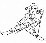 Hiver Saison Country Nature Skier Coloring Cross Winter Coloriage Coloriages sketch template