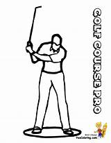 Golf Coloring Pages Course Sports Yescoloring Golfers Clubs Player Gallant Boys sketch template
