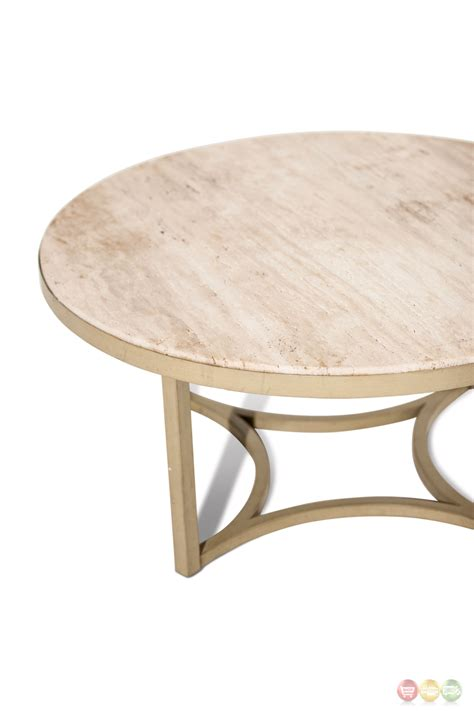 Alta Casual Round Cocktail Table With Beige Travertine