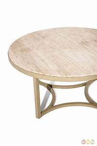 alta casual round cocktail table with beige travertine With beige marble coffee table