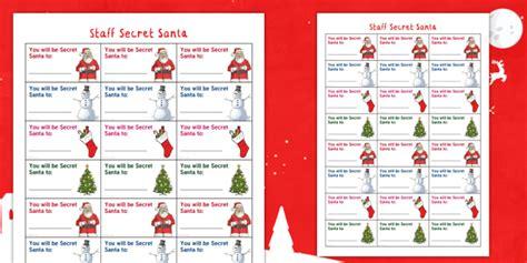 * New * Staff Wellbeing  Staff Secret Santa Christmas Activity