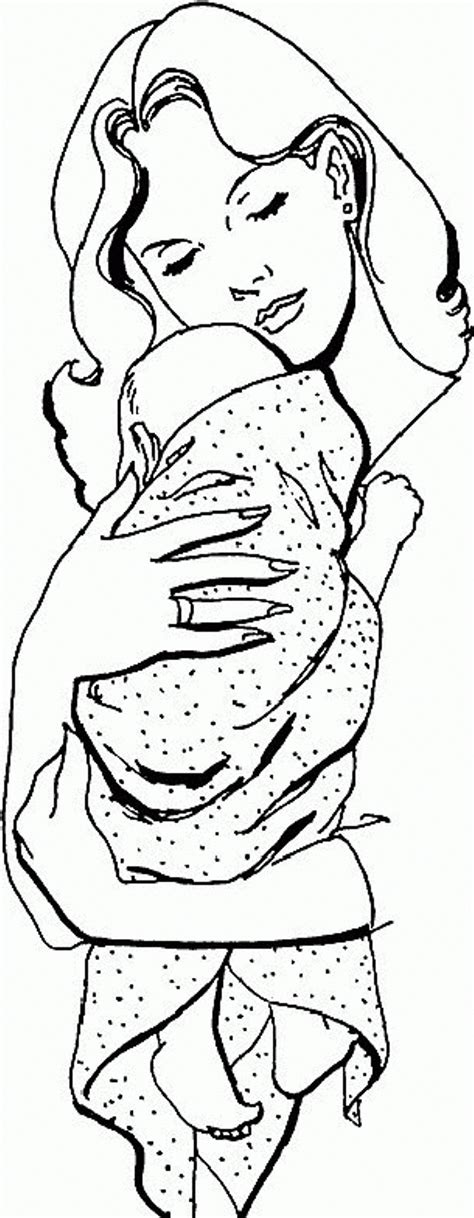baby hugged  mom coloring page  activity